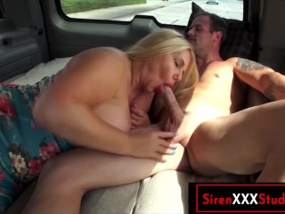 Cheating Busty Blonde MILF Wife Fucks Stranger in the Car