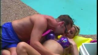 Huge Fake Tits Get Slammed by pool