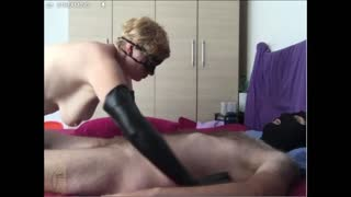 Kinky handjob in long gloves ended with hands free cumshot (webcam record)