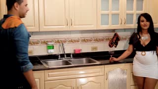 Careless housewife fucks the plumber while her husband is away