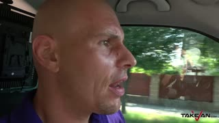 Glassed gipsy model kicked out of van with cum covered pussy
