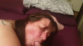 Bbw with butt plug sucks and fucks stranger