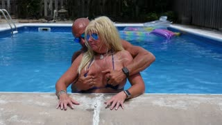 SEXIEST BIKINI FUCK EVER !!! Hooters Stepmom fucks Fit Son in Pool. Gets huge facial.