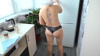 Mature stepmom gave a blowjob and had anal sex with her stepson