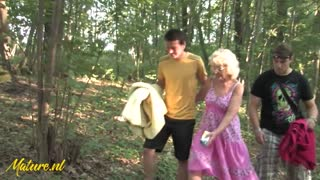Kinky Granny Fucked In The Woods By 2 Young Dudes