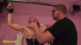 Tied Up MILF Gets Spanked, Fucked & Creampied By a Big Guy